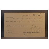 1906 Postcard order receipt from Standard Roller Bearing Co