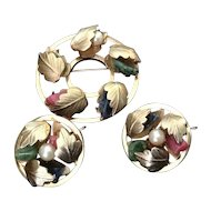 Sarah Coventry Circle pin and earring set with semi-precious stones