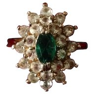 Size 6 Roman costume jewelry ring with prong set faux emerald and  rhinestones