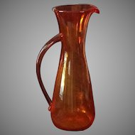 Tall blown glass mid-century modern pitcher with applied handle