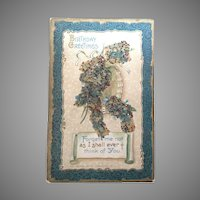 1913 postcard Birthday Greetings with Coralene Beads and Glitter Add-ons