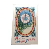 1913 Glad New Year Gel Postcard Printed in Germany