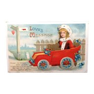 1911 Valentine Post Card with automobile theme
