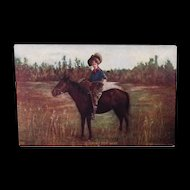 """1906 Cowgirl or Hunting theme postcard """"looking for Game"""""""