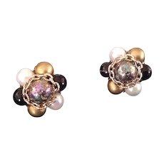 Bead cluster clip earrings Japan