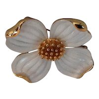 Crown Trifari Dogwood pin with white enamel and gold tone accents