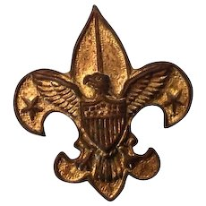 Vintage Tenderfoot Gold tone Boy Scout pin