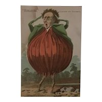 Whimsy Victorian Trade Card Boraxine Onion Man c 1885