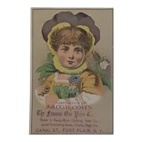 Victorian Trade Card  Jacob Cohn Dry Goods