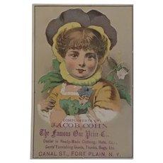Victorian Trade Card  Jacob Cohn Dry Goods
