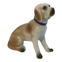Bisque Dog Figurine  Japan Hand Painted