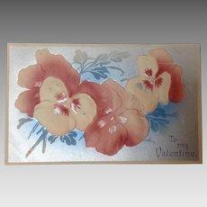 1911 Valentine with embossed pansies