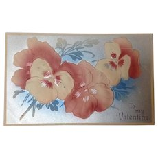 1911 Valentine with embossed pansies