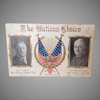 1909 Political Postcard. Taft and Sherman for President and Vice President in 1908 election