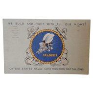1943 World War II Seabees Postcard with sad message