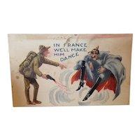 World War One Satire Postcard In France We'll Make Him Dance. Unused