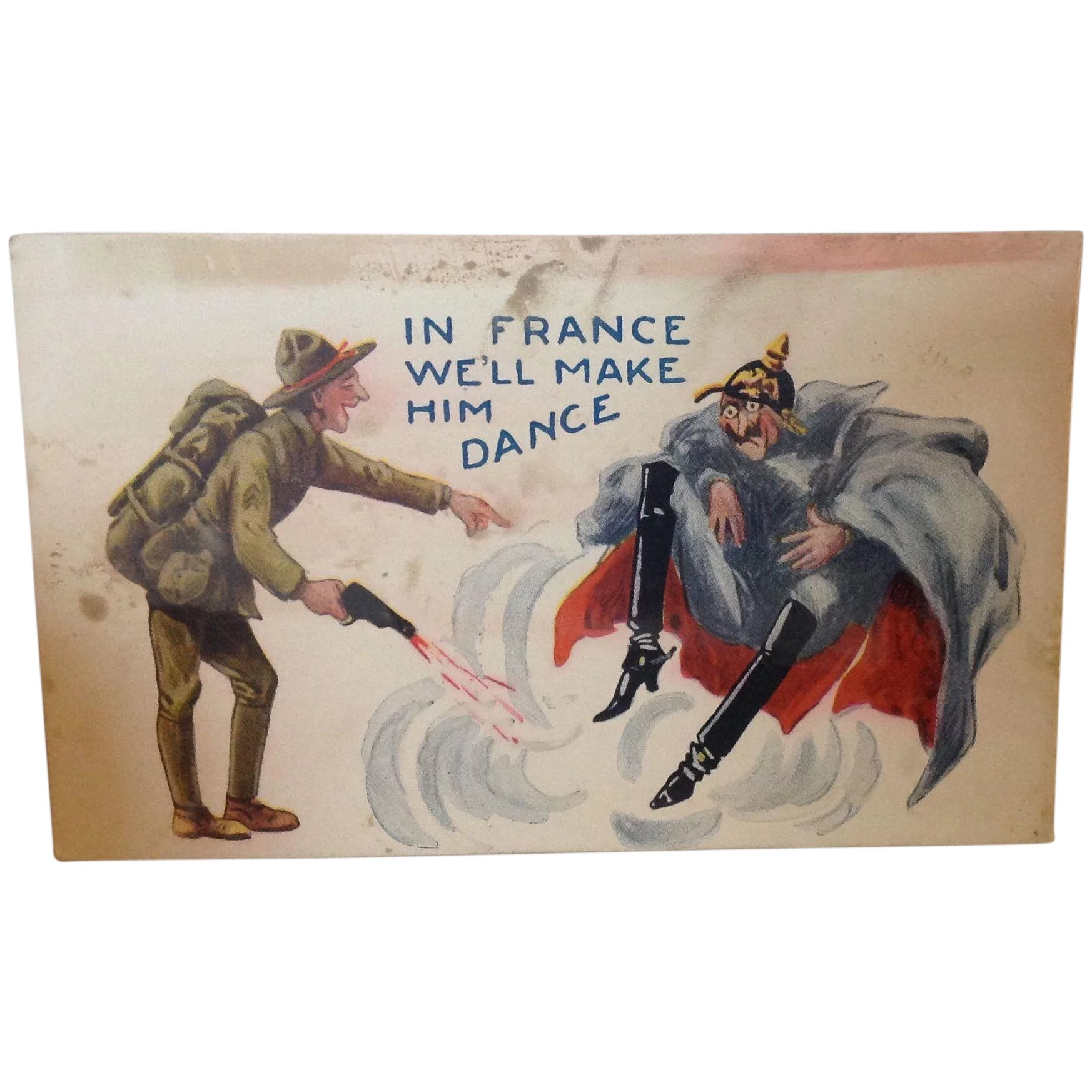 World War One Satire Postcard In France We Ll Make Him Dance