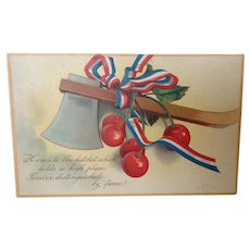 1908 Unused George Washington's Birthday Postcard with Hatchet and Cherries - Red Tag Sale Item