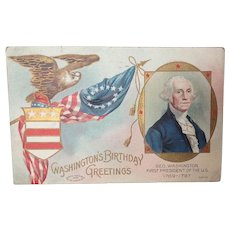Washington's Birthday Greetings 1908 Patriotic Postcard