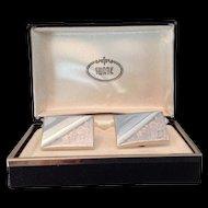 Vintage Swank silver tone rectangular cuff links in original box