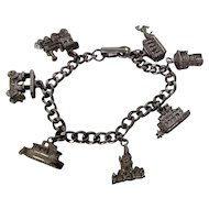 7 in. Silvertone metal  Charm bracelet with transportation theme