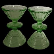 Set of 4 Hocking green depression Block Optic sherbet glasses
