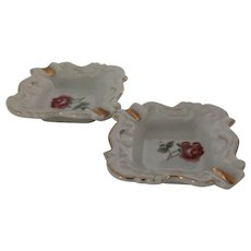 Set of 2 personal ash trays Hand painted and Made in Japan