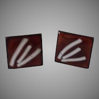 Enamel square copper screw back earrings