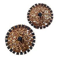 Kramer filigree earrings with midnight blue rhinestones