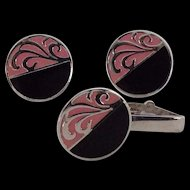 Retro Pink and Black on silver tone metal cuff links and tie clip