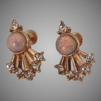 Rhinestone and opalescent stone earrings