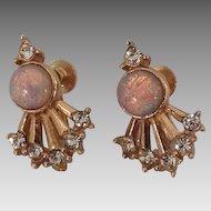 Rhinestone and opalescent stone earrings