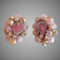 Western Germany bead cluster earrings with hazy pink faux pearls