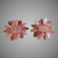 Pink beaded vintage flower earrings