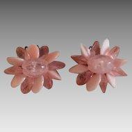 Pink beaded vintage flower earrings