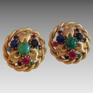 Vintage clip earrings with prong set glass cabochons and prong set colored rhinestones