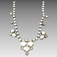 Vintage white glass bead and clear rhinestone necklace