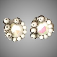 Hobe white iridescent bead clip earrings