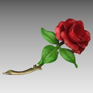 Moulded red rose pin