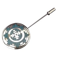 Mexican Silver and Turquoise Southwest motif stick pin Marked B