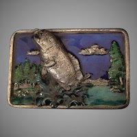 Bergamot Brass Works Enamel Bass or Trout Fishing Themed Belt Buckle
