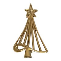 Gold Tone Christmas Tree Pin with Iridescent Rhinestones in the Star Topper