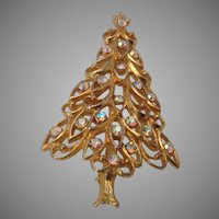Filigree Christmas Tree Pin with Iridescent Rhinestones