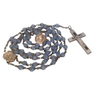 Rosary with Blue Glass Beads and 1950 Pope Pius XII Medal
