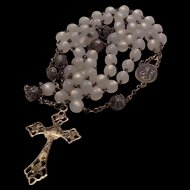 Rosary with opalescent glass beads and sterling cross and medal
