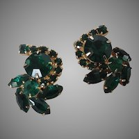 Emerald green Rhinestone clip earrings