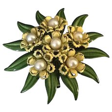 Enamel flower bouquet  pin with simulated pearl centers