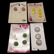 Four cards of vintage German glass buttons   Lansing, Schwanda, Exquisit and Fashionable brands
