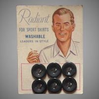 Radiant brand buttons on original card with man smoking a cigarette
