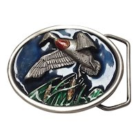 Bergamot duck hunting motif high relief pewter and enamel belt buckle 1984